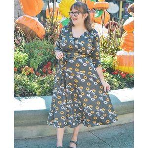 Karina Dresses Cat Eye Print Faux Wrap Dress